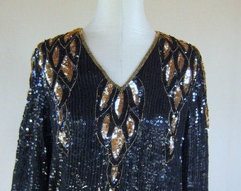 Black & Gold Sequin Slouchy Top Shirt Glam Diva