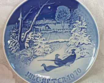 1970 BING & GRONDAHL Pheasants in the Snow at Christmas PLATE Denmark