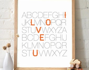 ABC I Love You Typography Print in Orange. Great for baby shower gifts, wedding bride and groom gifts, Nursery Art - TB100