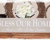 Bless Our Home And All Who Enter -WOOD SIGN- Family Home Décor Housewarming Gift Wedding Present