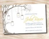 50 PRINTED WITH ENVELOPES- Vintage Tree Mason Jar Bridal Shower Invitation includes envelopes