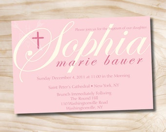 BAPTISMAL NAME Custom Baptism Invitation / Christening Invitation / Communion Invitation - Printable digital file or printed invitations
