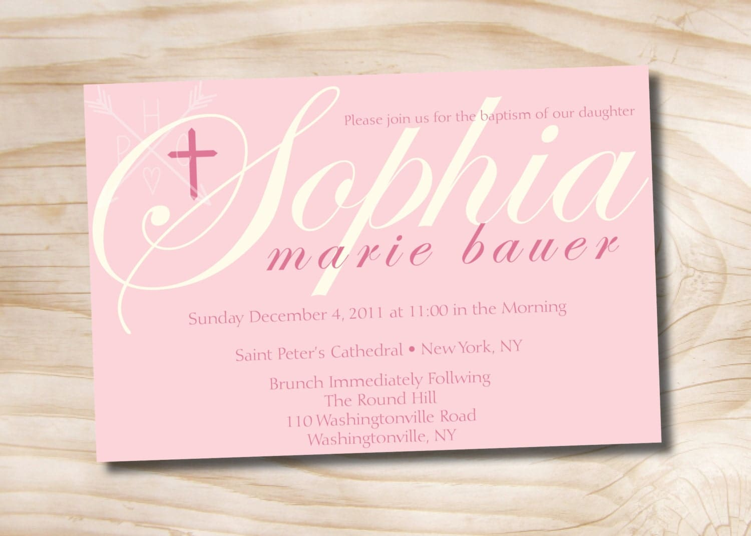 BAPTISMAL NAME Custom Baptism Invitation / Christening