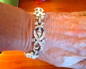 Glorious CORO-Signed 5-PLAQUE Dazzling, All Prong-Set ICE Rhinestone Vintage Bracelet - Bridal Quality