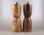 Salt and Pepper Shakers - Handmade Black Walnut and Spalted Maple with chrome caps