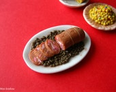 Cotechino and lenticchie - Sausage with lentils for dollhouse - 1/12 scale