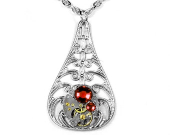 Steampunk Jewelry Necklace Womens Vintage Jewelry CARAVELLE Watch Silver Filigree Blood RED Crystals Mothers - Jewelry by Steampunk Boutique