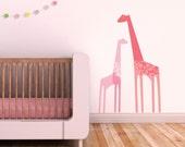Giraffe Wall Decal, Pink Giraffe, Pink Wall Decal, Cute Baby Room Decor, Kids Wall Decal. Giraffes Children Wall Decal
