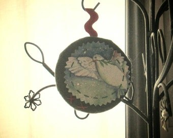 ORNAMENT HOLIDAY FELT Embroidered Handmade Upcycled