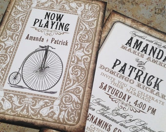 Playing card themed wedding invitations. Vintage Bicycle Wedding Invitation Suite. 1800s wedding invitations.