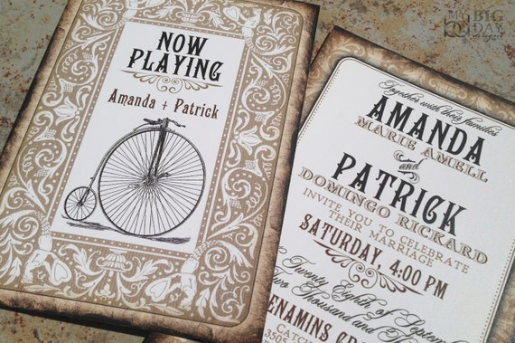 Playing card themed wedding invitations. Vintage Bicycle