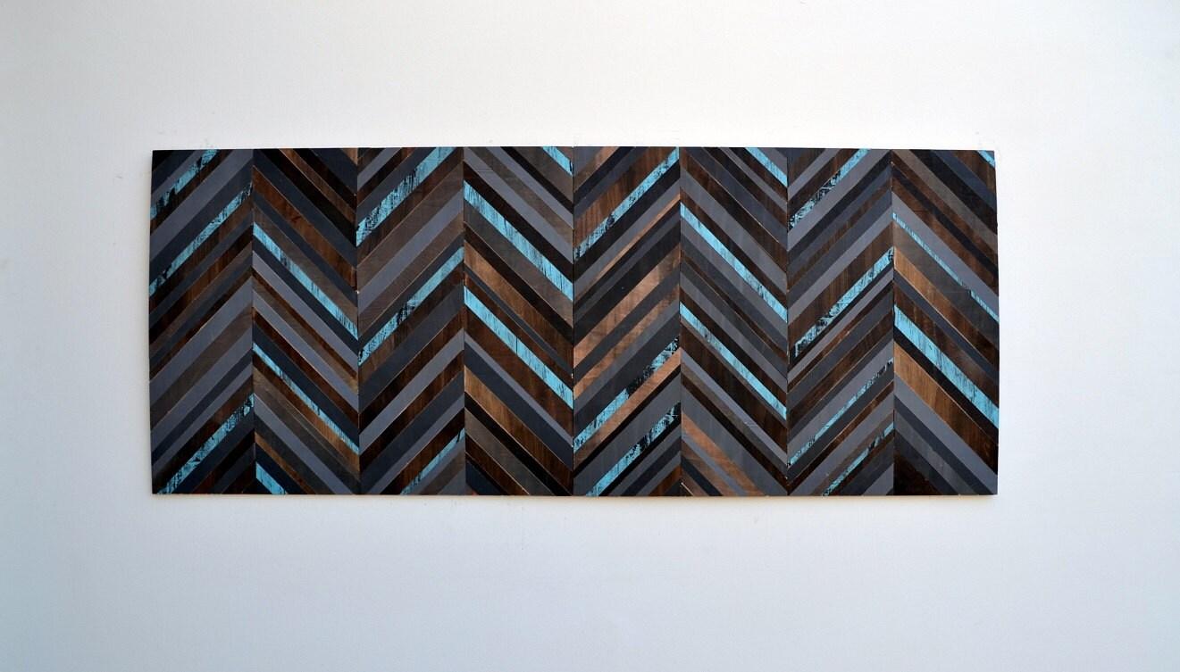 Chevron Wood Wall Decor : Wood wall art chevron headboard reclaimed queen