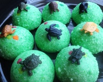 Baby Turtle Egg Bath Bombs - Fizzy Bath Candy for Tub Time Fun!  8 Turtle Bath Bombs - Wrapped Gift or Party Favors - Science Easter Fun!
