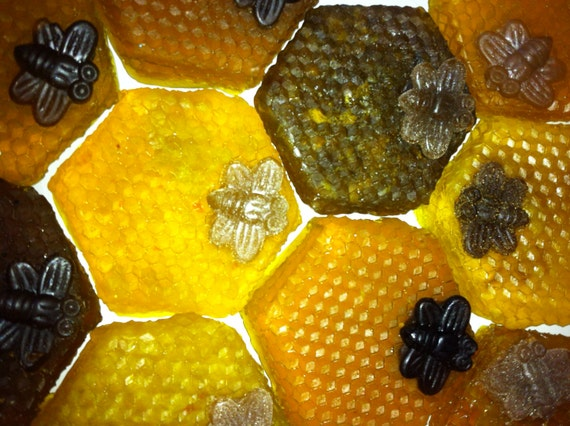 Handmade Natural Amish Honey Comb or Honey Bear and Oatmeal Glycerin Soap - Cute Party Favor - Honey Bear Easter Party