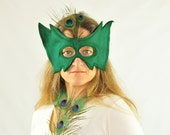 Halloween Mask - Adult Costume - Eco Friendly Felt - Green - Masquerade - Super Hero  - Ready to Ship