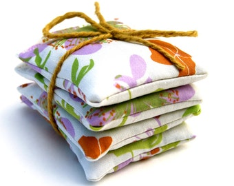 Sachet - Organic Lavender - Organic Cotton - Floral Garden - Set of Four -  Eco Friendly