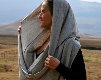 Infinity Scarf - Circle Scarf  - Cowl - Heathered Gray - Organic Cotton Yak Down Jersey - Organic Clothing