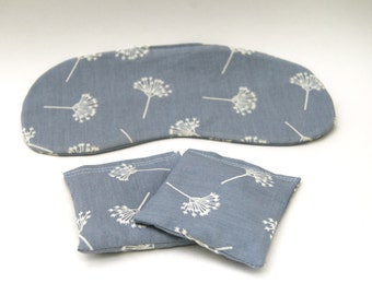 Eye Mask - Organic Lavender Sachet Set - Boudoir Sleep Mask  - Organic Cotton - Gray Floral Dandelion - Eco Friendly