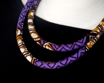 Purple African Print Fabric - Double Loop Rope Necklace