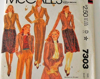 McCalls Misses and Junior Petite Jacket, Skirt and Pants Pattern   Misses Size 11  Pattern Number 7303