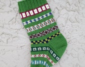 Hand knit Christmas stocking in kelly apple green with FREE U.S. SHIPPING