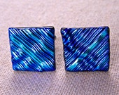 """Dichroic Cuff Links - Teal Blue with Cobalt Striped Lines Pattern Textured - 3/4"""" 2cm Fused Glass"""