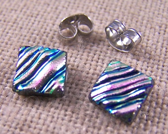 "Tiny Dichroic Post Stud Earrings - 1/4"" 8mm 10mm - Soft Pastel Pink Waves Ripples Fused Glass Studs"