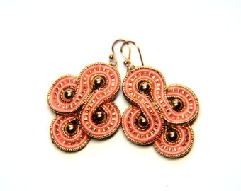 retro gold & coral-  soutache earrings  free shipping