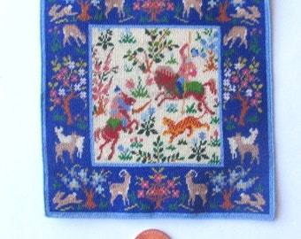TO ORDER Dollhouse Miniature Rug Hunting Scene 1/12 scale Needlepoint Petit Point
