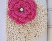 Crochet Girls Hat - Baby Hat - Winter Hat - Newborn Hat - Toddler Hat - Off White (Cream) with Hot Pink Flower - in sizes Newborn to 3 Years
