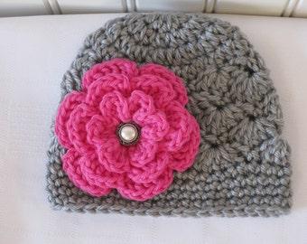 Baby Hat - Crochet Hat - Girls Hat - Toddler Hat - Newborn Hat - Winter Hat - Gray Grey Hat & Hot Pink Flower - in sizes Newborn to 3 Years