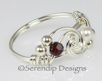 Couples Birthstone Ring, Argentium Sterling Silver Two Swarovski Crystal Wire Wrapped Mothers Ring
