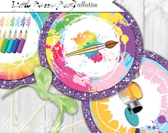 """Painting Party Printable 4"""" Themed Party Circles by Cutie Putti Paperie"""