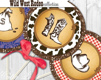 """Western Party Printable 4"""" Themed Party Circles by Cutie Putti Paperie"""