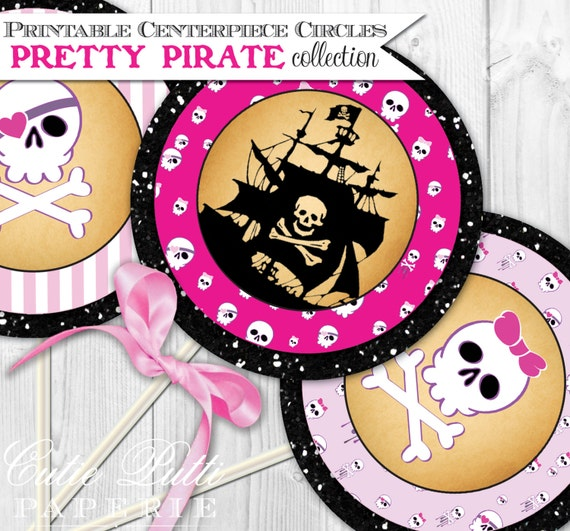 "Pirate Party For Girls Printable 4"" Themed Party Circles by Cutie Putti Paperie"
