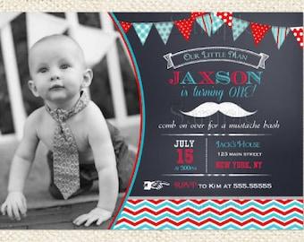 Mustache Little Man Birthday Invitations
