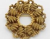 Miriam Haskell Vintage Goldtone Metal Brooch