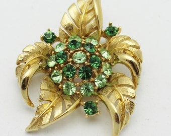 Flower Brooch Green and Gold by Lisner