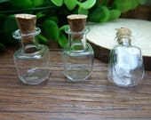 5pcs 15x25mm Handmade square  shaped Clear Glass Bottles  Clear Glass Globe/ Glass Bottle/ Glass Bulbs  N120