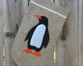 Penguin Christmas Stocking Penguin made of natural tan wool felt wool eco ecofelt Xmas modern minimalist sustainable animal
