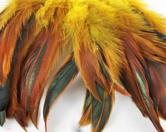 feathers Strung Schlappen half bronze Dyed yellow 6 to 8 inches  K30