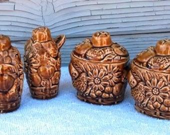 Vintage Salt Pepper Shakers and Sugar Bowls Flowers and Fruit Design Grandma Kitchen Supplies