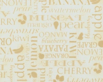 """FREE US Shipping!  44"""" Wide Farmer's Market Fruit Words Cream Cotton Fabric By The Half Yard"""
