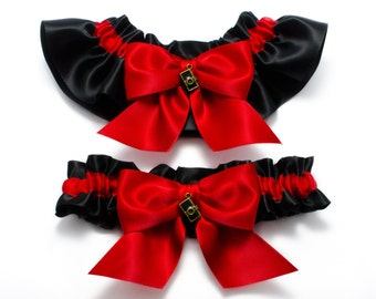 Wedding garters - bridal garters - red and black garters with camera charms - red photographer garters - red garters - red and black garters