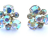 Vintage Designer Weiss  Aurora Borealis Rhinestone Earrings, Screw Back, Conversion to Pierced Available