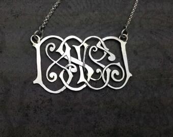 Custom Designed Hand Pierced Monogram Sterling Necklace-Multi-Initial Pendant-Linear Scroll Style