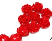 20 pcs 10 mm resin Red Rose cabochon half drilled 20A  100CB