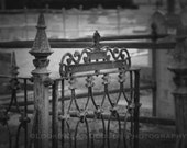 cemetery fence, wrought iron, moody dark photo, always Halloween, tombstones