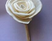 DIY Balsa Wood Rose Boutonniere-- DIY Sola Flower Wedding Boutonniere
