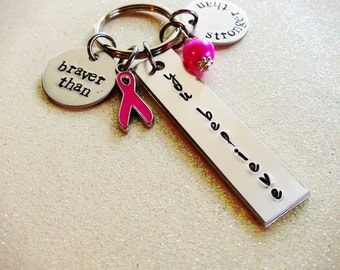 Hand Stamped Breast Cancer, Cancer Awareness Keychain